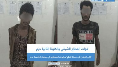 صورة قوات القطاع الشرقي والكتيبة الثانية حزم تلقي القبض على عصابة تقطع تستهدف المواطنين في سواحل العاصمة عدن