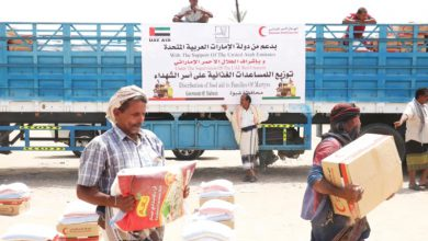 صورة 37 طناً من المساعدات الإماراتية لأسر شهداء شبوة