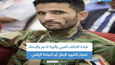 صورة قيادة التحالف العربي وألوية الدعم والإسناد تنعيان الشهيد البطل أبو اليمامة اليافعي