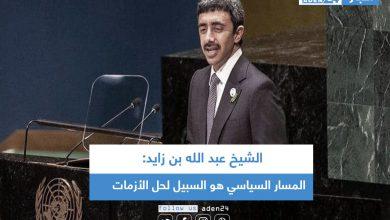 صورة الشيخ عبد الله بن زايد: المسار السياسي هو السبيل لحل الأزمات