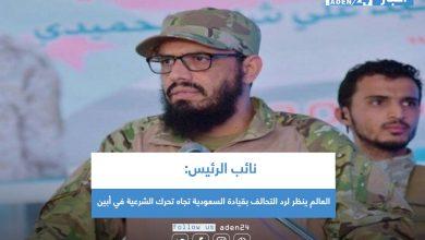 صورة نائب الرئيس: العالم ينظر لرد التحالف بقيادة السعودية تجاه تحرك الشرعية في أبين