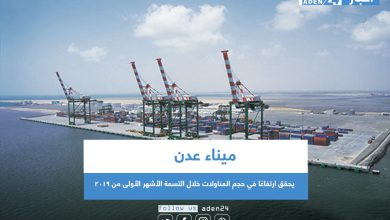 صورة ميناء عدن يحقق ارتفاعًا في حجم المناولات خلال التسعة الأشهر الأولى من 2019