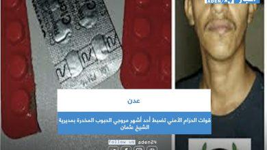 صورة قوات الحزام الأمني تضبط أحد أشهر مروجي الحبوب المخدرة بمديرية الشيخ عثمان