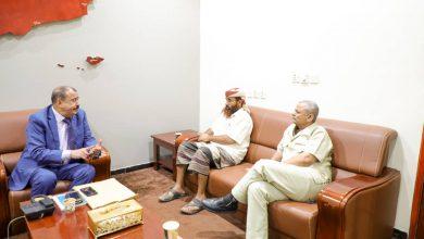 صورة اللواء بن بريك يلتقي قائد اللواء الثاني عمالقة العميد حمدي شكري