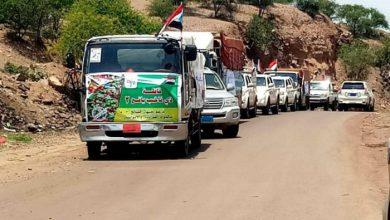 صورة قبائل ذي ناخب في يافع تسير قافلة متنوعة دعما للقوات الجنوبية في الضالع