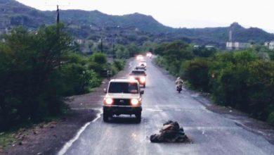 صورة اللواء الرابع مقاومة يدفع بتعزيزات عسكرية الى جبهة الفاخر شمال الضالع