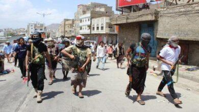 صورة اشتباكات عنيفة بين مليشيا الإخوان في تعز