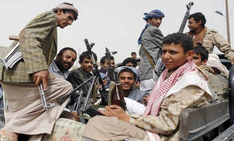 Houthi Fighters Ride A Patrol Truck Outside Sanaa Airport