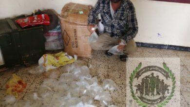 صورة الحزام الأمني يداهم معملاً لخلط الحشيش في دار سعد