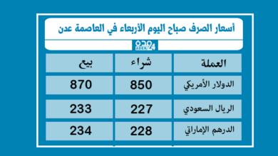 صورة أسعار الصرف صباح اليوم الأربعاء في العاصمة عدن