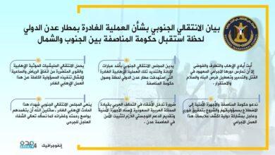 صورة إنفوجرافيك| بيان المجلس الانتقالي بشأن الهجوم الإرهابي الذي استهدف مطار عدن لحظة استقبال حكومة المناصفة