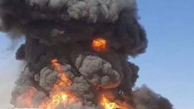 صورة انفجار مخازن أسلحة لمليشيا الحوثي بمطار صنعاء
