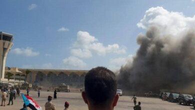 صورة الهجوم الإرهابي على مطار عدن .. جريمة حرب مكتملة الأركان لملاحقة الحوثي دولياً