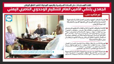 صورة إنفوجرافيك|تفاصيل لقاء الجعدي بالأمين العام للتنظيم الوحدوي الناصري