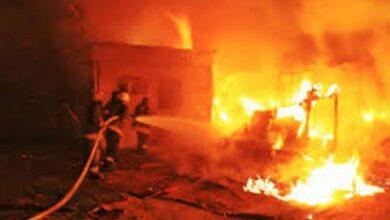 صورة نقل 7 مصابين جراء حريق بمنزل في لحج