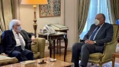 صورة غريفيث ووزير خارجية مصر يبحثان جهود حل الأزمة اليمنية