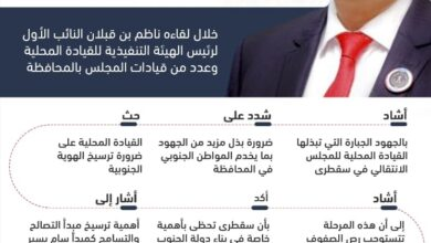 صورة إنفوجرافيك| الرئيس الزُبيدي يطلع على الأوضاع في محافظة أرخبيل سقطرى
