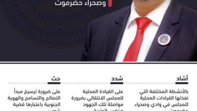 صورة إنفوجرافيك| الرئيس الزُبيدي يلتقي بالهيئة التنفيذية المساعدة للمجلس لشؤون مديريات وادي وصحراء حضرموت