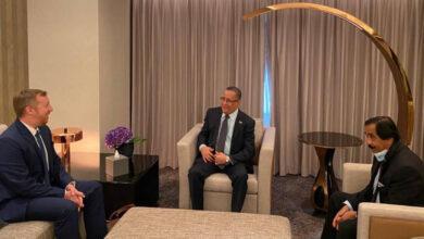 صورة الخُبجي يبحث مع نائب القائم بأعمال السفير الأمريكي جهود تنفيذ اتفاق الرياض والتهيئة للعملية السياسية الشاملة
