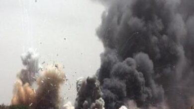 صورة انفجار عنيف يهز موقع الفرقة الأولى مدرع بصنعاء