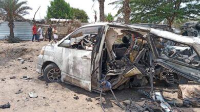 صورة قتلى وجرحى مدنيون بانفجار لغم من مخلفات الحوثيين في الدريهمي