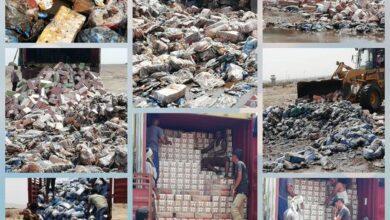 صورة رفض وإتلاف منتجات غذائية مخالفة في ميناء المنطقة الحرة بالعاصمة عدن
