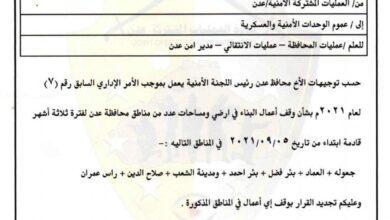 صورة محافظ العاصمة عدن يوجّه بتجديد وقف أعمال البناء في أراضي ومساحات سبع مناطق لثلاثة أشهر قادمة